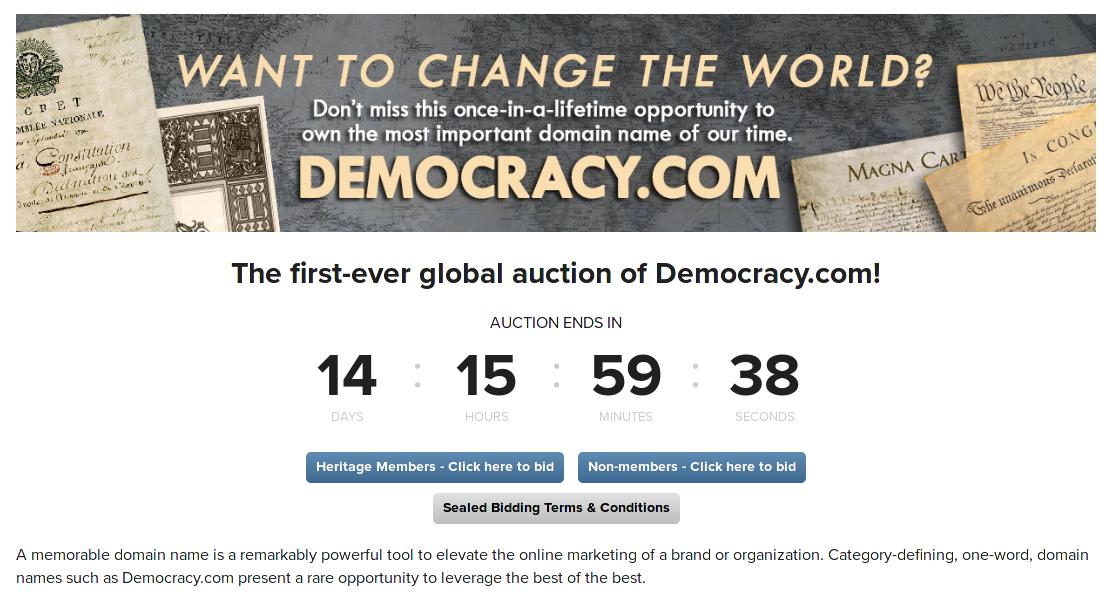 democracy.com for sale